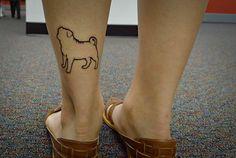 Pug outline tattoo