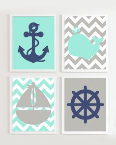 Nautical Prints - Teal Grey Navy set of 4 - Beach Ocean Sea more colors available