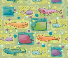whalies fabric by karismithdesigns on Spoonflower - custom fabric Whale Art, Kids Bedroom, Bedroom Ideas, Surface Design, Custom Fabric, Spoonflower, Art Reference, Gift Wrapping, Design Inspiration