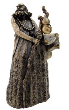 Zen Master Bodhidharma Statue with Heart Sutra Chinese Text, Bronze Powder Cast Statue 6.5-in