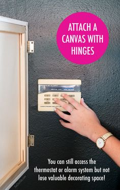 The Chic Site - attach a canvas with hinges - hide thermostat Hide Thermostat, Thermostat Cover, Home Security Tips, Home Security Systems, Security Companies, Air Conditioning Units, Heating And Air Conditioning, Hide Electrical Cords, Dyi
