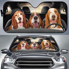 Dog Car Accessories, Car Interior Accessories, Car Windshield Sun Shade, Car Sun Shade, Hound Puppies, Basset Hound Puppy, Car Cooler, Losing A Dog, Custom Cars