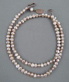 Vintage Estate 3 Strand 7.5mm 8mm Baroque Cultured Pearl Necklace Sterling Clasp Jewelry & Watches Jewelry & Watches