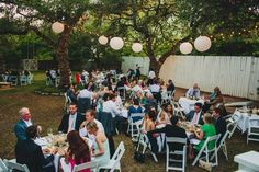 Heather and Jordan's wedding guests enjoying a balmy spring evening on the restaurant lawn.  Photo by Mercedes Morgan Photography  Venue and Planning: Green Pastures.