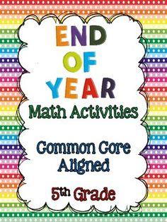 End of Year Math Activities for Grade {Common Core Aligned} Math 5, Math Literacy, 5th Grade Math, Math Classroom, Fun Math, Teaching Math, Teaching Posts, Teaching Ideas, Classroom Ideas