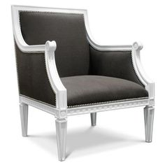 pretty charcoal gray chair, love the contrast of the white