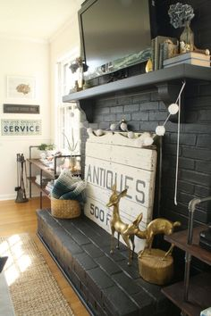 Easy And Cheap Cool Ideas: Slate Fireplace Color Schemes fireplace winter couple.Fireplace Design With Tv fireplace surround bedroom.Fireplace Christmas How To Make. Black Brick Fireplace, Paint Fireplace, Fireplace Cover, Fireplace Screens, Fireplace Remodel, Fireplace Mantle, Fireplace Design, Fireplace Ideas, Unused Fireplace