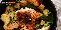 Skillet Chicken Thighs with Potato, Apple, and Spinach