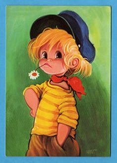 〆(⸅᷇˾ͨ⸅᷆ ˡ᷅ͮ˒) Postcard vintage 70s. Cute cool big eyed boy.