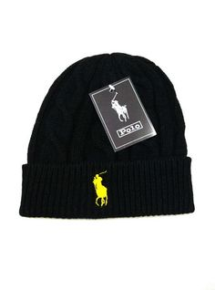 Men's / Women's Polo Ralph Lauren Big Pony Embroidered Cable Knit Ribbed Cuff Winter Beanie Hat - Navy / Red