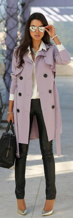 silver heels and glares with back leather pants and fresh lilac overcoat..