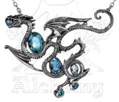 Alchemy Gothic England Pewter Aqua Dragon Necklace Swarovski Crystals Large #AlchemyofEnglandSwarovski #MagicDragon #AlchemyofEngland