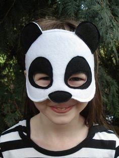 Felt Panda Mask  Costume Mask  Kid Size by herflyinghorses on Etsy