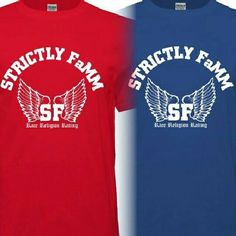 Red, blue and white Strictly FaMM with wings shirt design edition