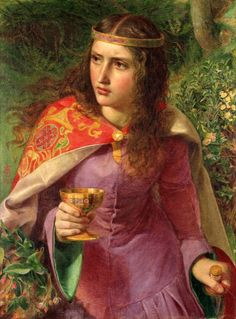 'Queen Elenor' by Frederick Sandys. Eleanor, the wife of Henry II is reputed to have murdered his mistress, Rosamund. Thus, Sandys depicts her carrying a dagger, a cup of poison, and the piece of red string that was supposed to lead Eleanor through a maze to reach Rosamund's chamber.