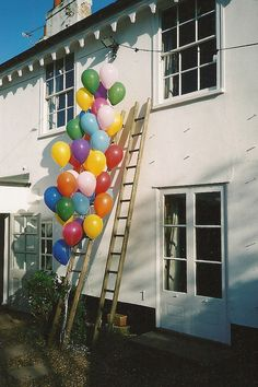 balloons outside a cottage. Ie, my future life.