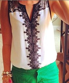 Market and spruce Lana lace detail v neck blouse
