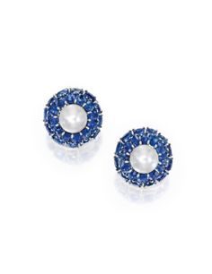 Pair of Platinum, Natural Pearl and Sapphire Earclips | Lot | Sotheby's