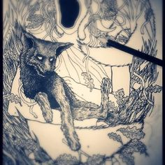 #penandink #pencil #blackink #drawing #blackandwhite #shapefromhell #darkart #fox #spiritual