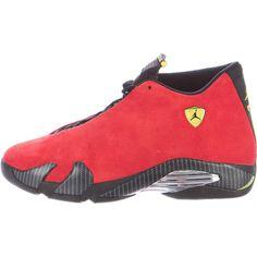 Pre-owned Nike Air Jordan Retro XIV Ferrari Sneakers ($275) ❤ liked on Polyvore featuring men's fashion, men's shoes, men's sneakers, red, mens red high tops, mens embroidered shoes, mens sneakers, mens high top sneakers and mens retro shoes