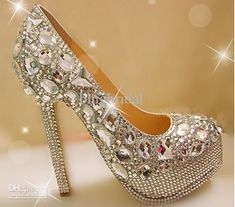 Wholesale Unique Sparkling Crystal Diamond Wedding Bridal Shoes High Heels Waterproof Sandal Party Prom Shoes, Free shipping, $216.16-224.0/Piece | DHgate
