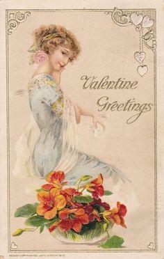 Valentine 039 s Day John Winsch Flowers Antique Beautiful Lady Antique Postcard | eBay