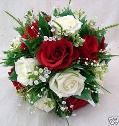 POSY BOUQUET RED AND IVORY ROSES BRIDESMAIDS WEDDING FLOWERS