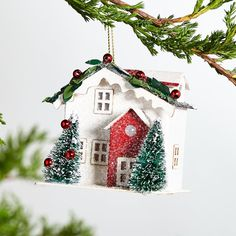 White Paper House Ornament at Crate and Barrel Canada. Discover unique furniture and decor from across the globe to create a look you love. Unique Christmas Ornaments, Christmas Town, Christmas Decorations For The Home, House Ornaments, Ornaments Design, Tree Decorations, Christmas Crafts, Holiday Decor, Ball Ornaments