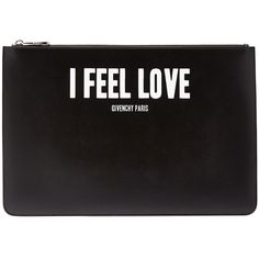 """Givenchy """"I Feel Love"""" Large Pouch (€635) ❤ liked on Polyvore featuring bags, handbags, clutches, accessories, purses, black, givenchy purse, pouch handbag, hand bags and man bag"""
