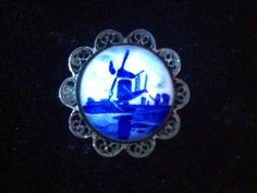 Antique silver filigree Delft blue and white ceramic windmill pin brooch by vintagesilverlynx on Etsy