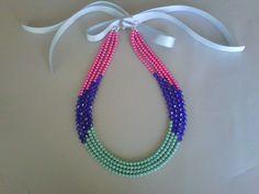 Divertido collar multicolores rosa,azul cobalto y turquesa