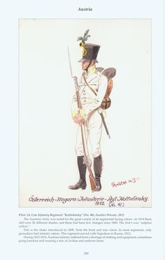 "Austria: Plate 14. Line Infantry Regiment ""Kattulinsky"" (No. 41), Fusilier Private, 1812"