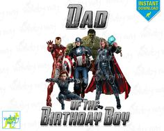 Avengers Birthday DAD of the Birthday Boy Printable Iron On Transfer or as Clip Art, DIY Shirt, Thor, Captain America, Hulk, Marvel, match by TheWallabyWay on Etsy
