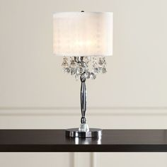 """Found it at Wayfair - Alcester Crystal 3 Light 30"""" Table Lamp with Drum Shade"""