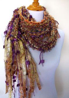Glitz Hand Knit Scarf Hand Tied Imported Yarns and by Fanchi, $36.00