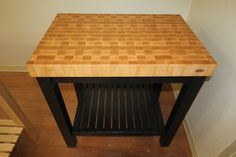 Black Butcher Block Kitchen Cart with Maple Top by McClure Tables.