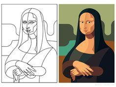 Mona Lisa - infographic element by Csaba Gyulai on Dribbble Art And Illustration, Mona Lisa Drawing, Art Sketches, Art Drawings, Mona Lisa Parody, Arte Pop, Art Inspo, Line Art, Art History