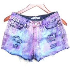 Painted Jean Shorts, High Waisted, Pastel Colorful (78 NZD) ❤ liked on Polyvore featuring shorts, pants, bottoms, pink jean shorts, high-waisted jean shorts, high rise shorts, highwaist shorts and short jean shorts