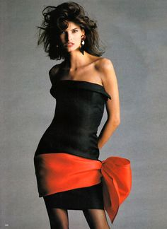Linda Evangelista wearing Yves Saint Laurent in Vogue UK March 1987 via www.fashionedbylove.co.uk