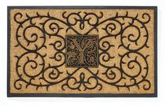 Personalized Coir Monogram Mat - Black 1739KG, Natural Black, Depth: 1.25 Height: 23.62 Length: 38.58 Material: Coir Rubber, Mat can be used indoors or out