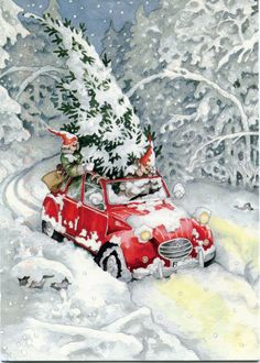 Inge Look, Getting a Christmas Tree. Inge Look loves Christmas and have made A lot of Christmas cards too. Christmas Scenes, Noel Christmas, Retro Christmas, Vintage Christmas Cards, Vintage Holiday, Christmas Pictures, Winter Christmas, Vintage Cards, Christmas Truck