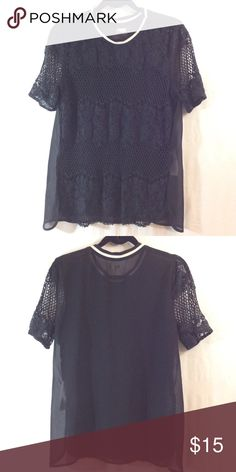 Hollister black sheer lace crochet front shirt Very good condition. Like multiple items I have available? When you bundle 3 items from my closet in the same transaction, you get a discount and only pay shipping ONCE!! When you bundle 4+, you get that PLUS a FREE GIFT! *Free gift increases in value with each additional item bundled* Hollister Tops
