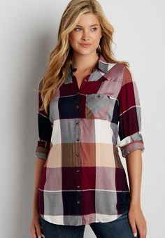 button down buffalo plaid tunic top with button back (original price, $34.00) available at #Maurices