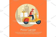 Pizza carrier service poster with courier #fastfood #pizza