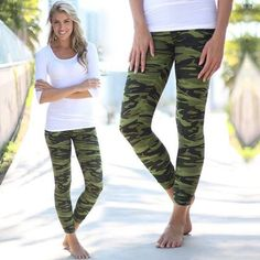 Buy these awesome Camo Print Leggings from Saved by the Dress Boutique. Best leggings ever! Feature camouflage print and look cool. Cute Leggings, Best Leggings, Printed Leggings, Trendy Online Boutiques, Army Print, Stitch Fit, Look Cool, Passion For Fashion, Camo