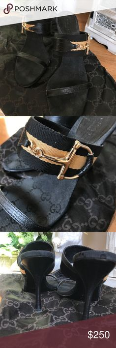 Authentic Black Gucci Horsebit heels 👠👠👠 Authentic Gucci heels, black with Gold Strip, horsebit detailed, shoes are gently worn, in good condition.woman's size 7.❤❤❤️❤️🌺🌸 Gucci Shoes Heels