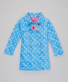 Look at this Soft Clothing Blue Polka Dot Rebeka Organic Trench Coat - Toddler & Girls on #zulily today!