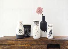 Mit dem Set Black & White im Trend!!! Einfach Altglas sammeln und etwas Schönes daraus machen....