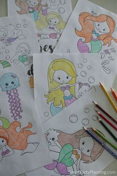 6 mermaid coloring pages Party Activities, Fun Activities For Kids, Cute Mermaid, The Little Mermaid, Party Themes, Party Ideas, Mermaid Coloring Pages, Mermaid Pictures, Mermaid Parties