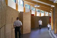The Hazelwood School in Glasgow, Scotland is designed for blind and/or deaf students aged 3-19.  Many of the students have multiple disabilities.  The design employs several way-finding techniques, exhibited in the image.
